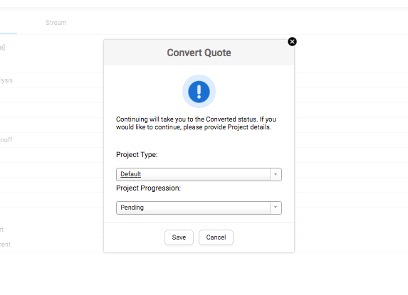 Convert Quote to Project – Project Quote