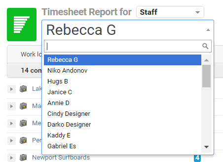 timesheet reports accelo