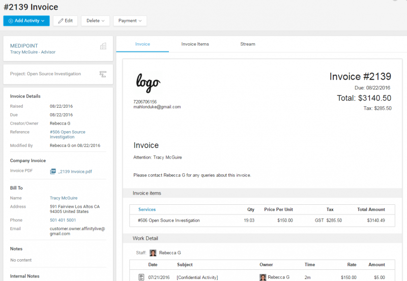 View Invoice Accelo - How to track invoices
