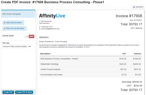 Customize The Look And Feel Of Your PDF Invoices Accelo - Invoice for work performed