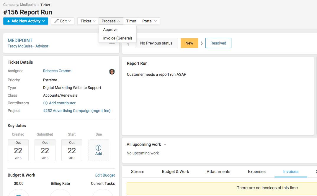Accelo's Team Inbox Activity Stream