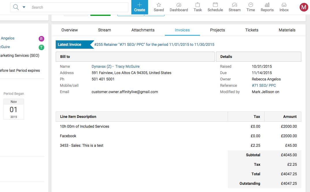 Accelo's Invoices feature for tracking non-time line items