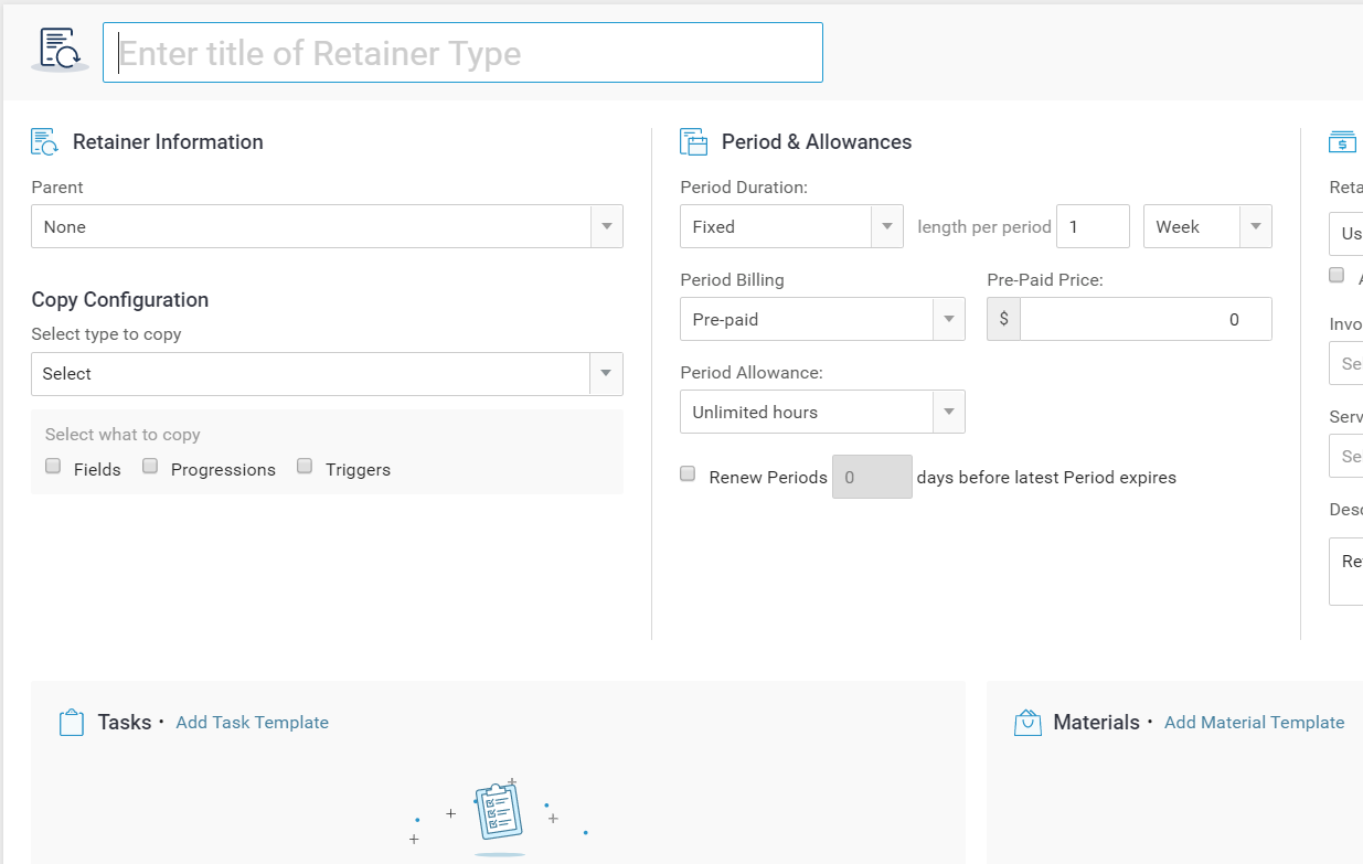 Accelo's unlimited Retainer template for project management