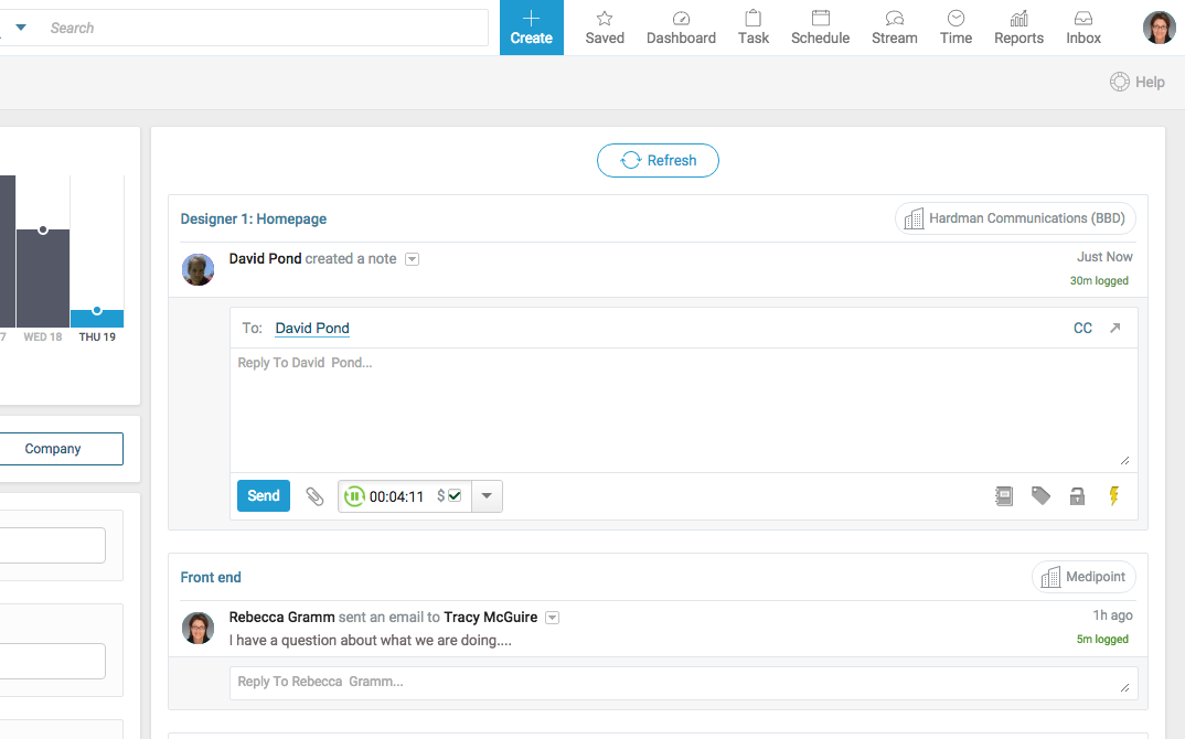 Accelo's 'Automated time tracking for timesheets' feature for automated email capture