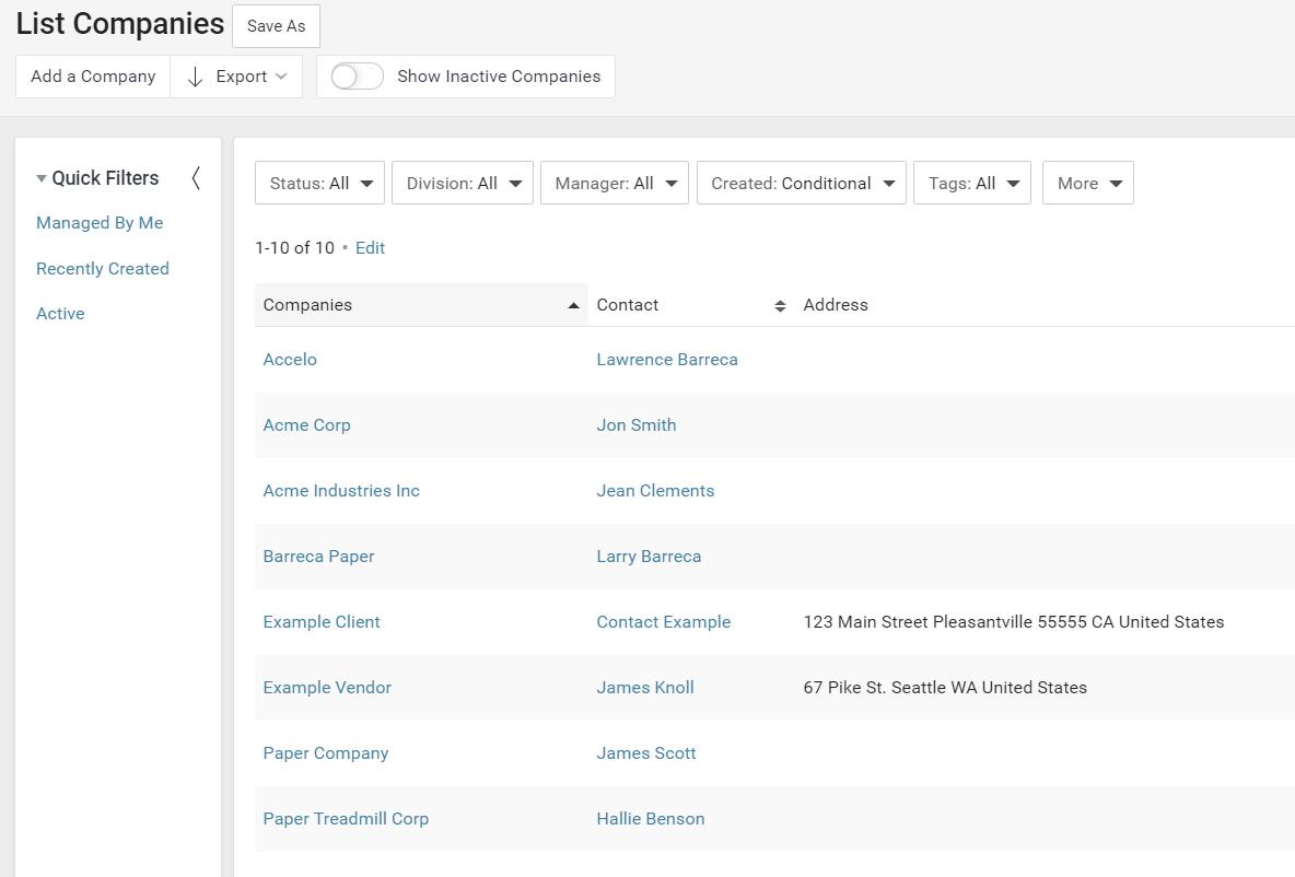 Accelo's client database management feature for client lists