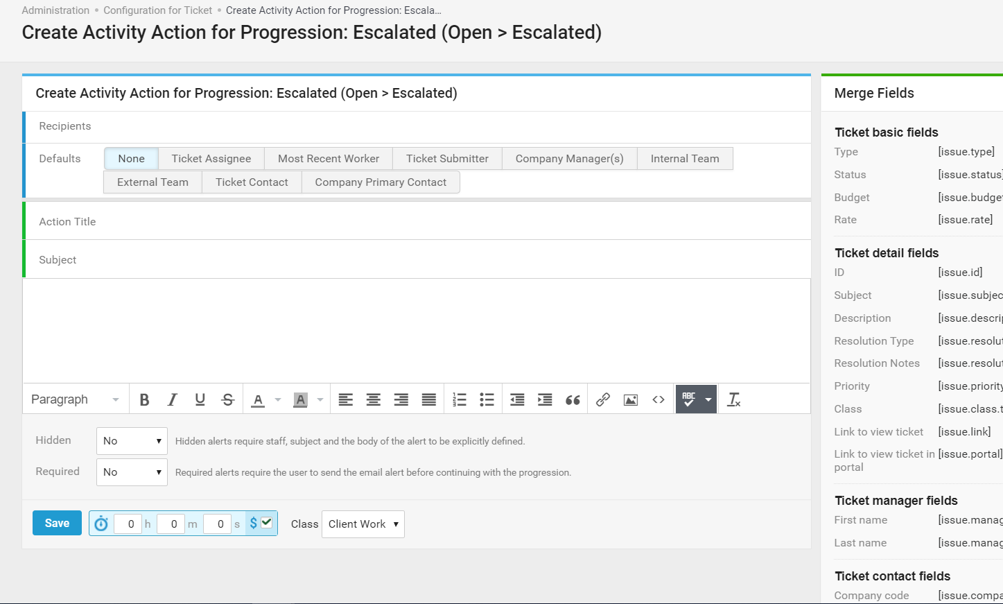 Accelo's service retainer management feature for automated notifications