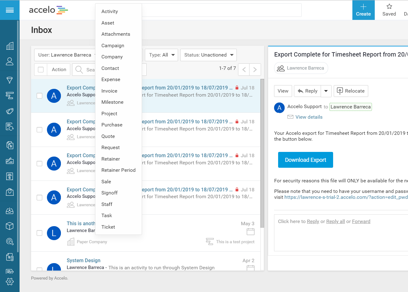 Accelo's team inbox with global search feature for messages