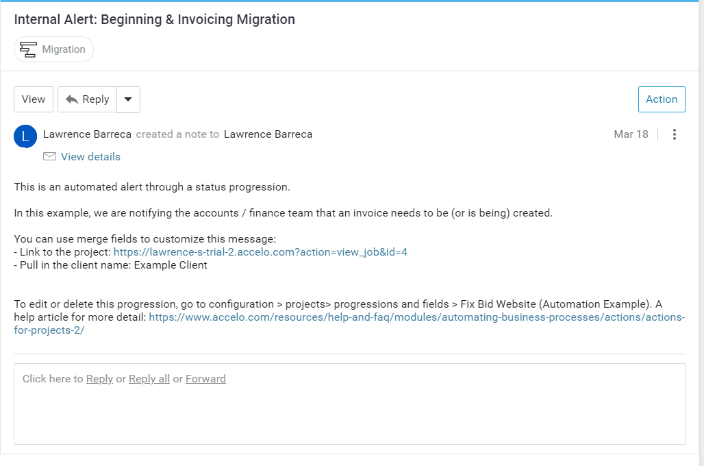 Accelo's automated team scheduling notifications feature for alerting finance teams of invoice creation