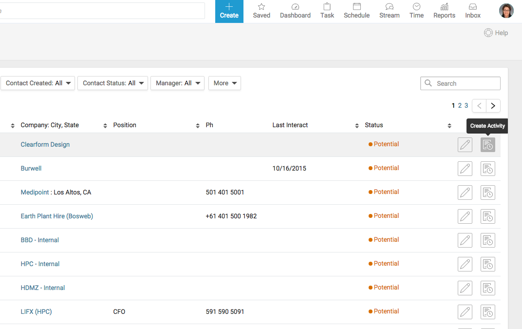 Accelo's client contact dashboard for automatically logging all client touchpoints