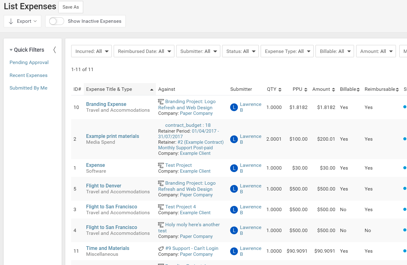 Accelo's business expense tracking feature for generating expense reports