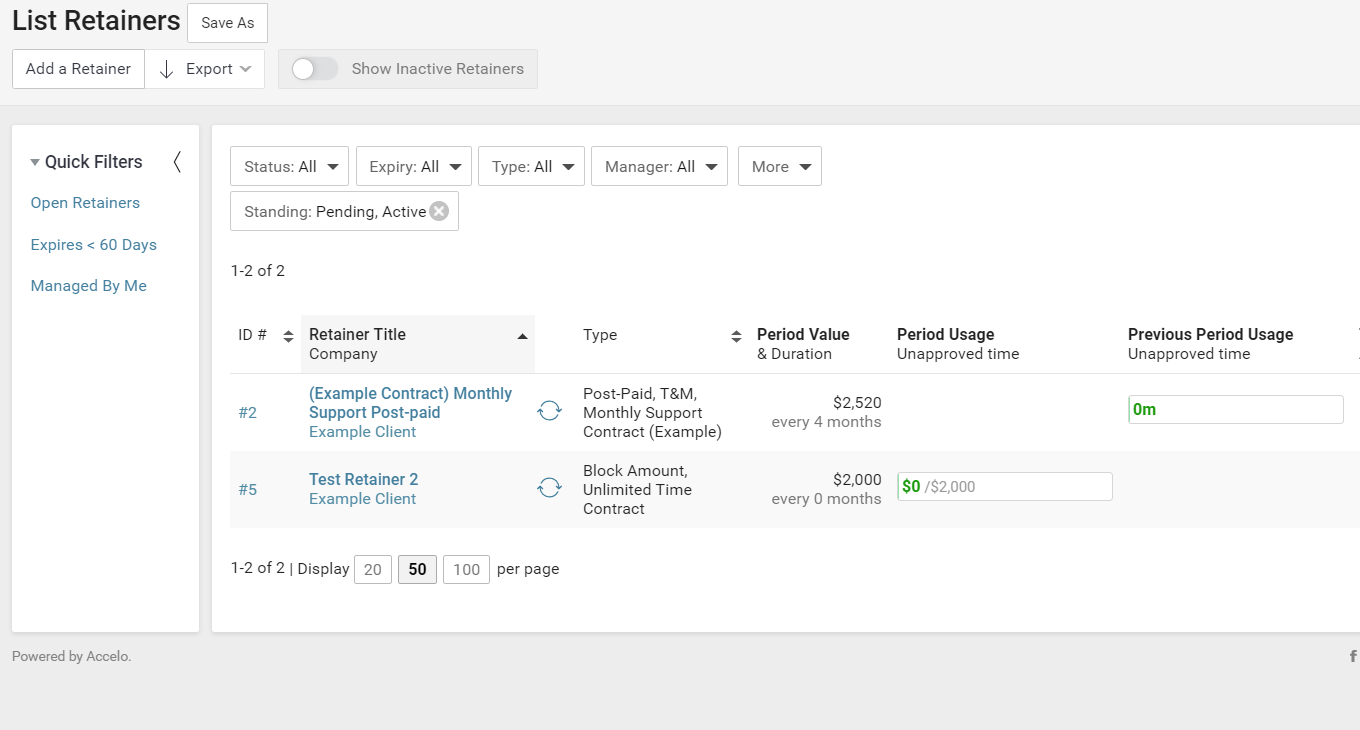Accelo's client records platform for tracking contract history