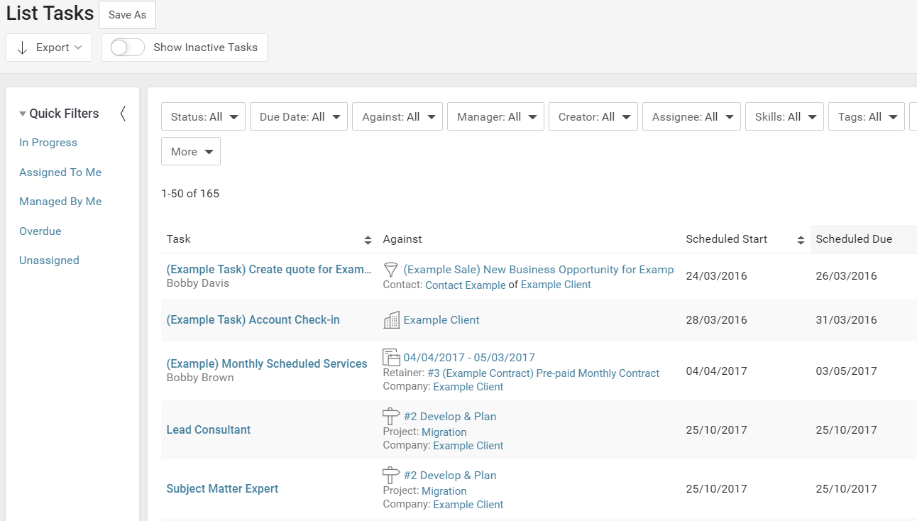 Accelo's usage tracking dashboard for task tracking