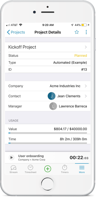 Accelo's mobile projects module for seeing a detailed project status from anywhere