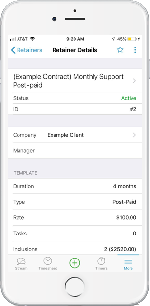 Accelo's mobile project manager for updating contracts and retainers