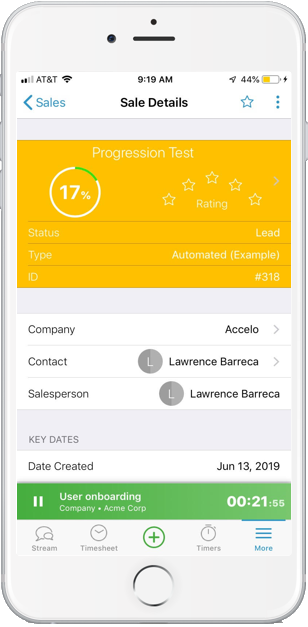 Accelo's mobile project manager for tracking sales from anywhere