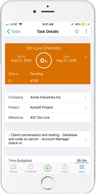 Accelo's mobile project manager for updating your timesheet from anywhere
