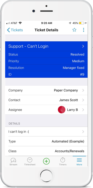 Accelo's mobile project manager for checking issues and tickets from anywhere