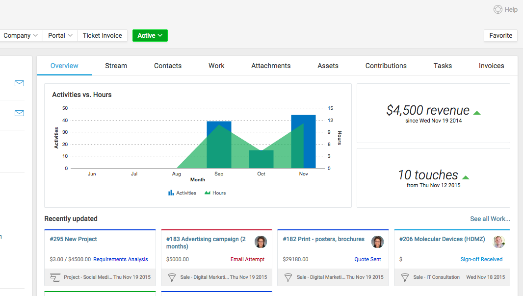 Accelo's service billing and contract management platform for updating project work to track time and budget