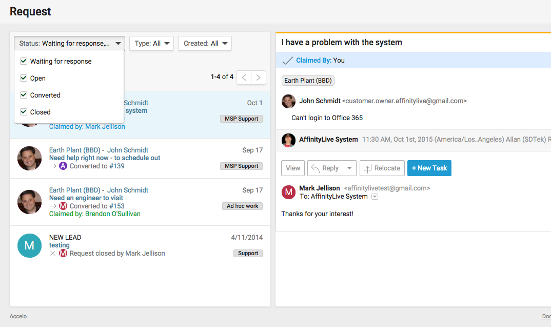 Accelo's team inbox for status tracking