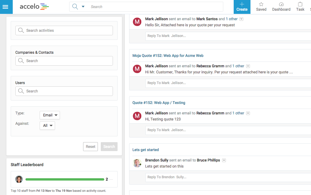Accelo's service billing and contract management platform for tracking service issues