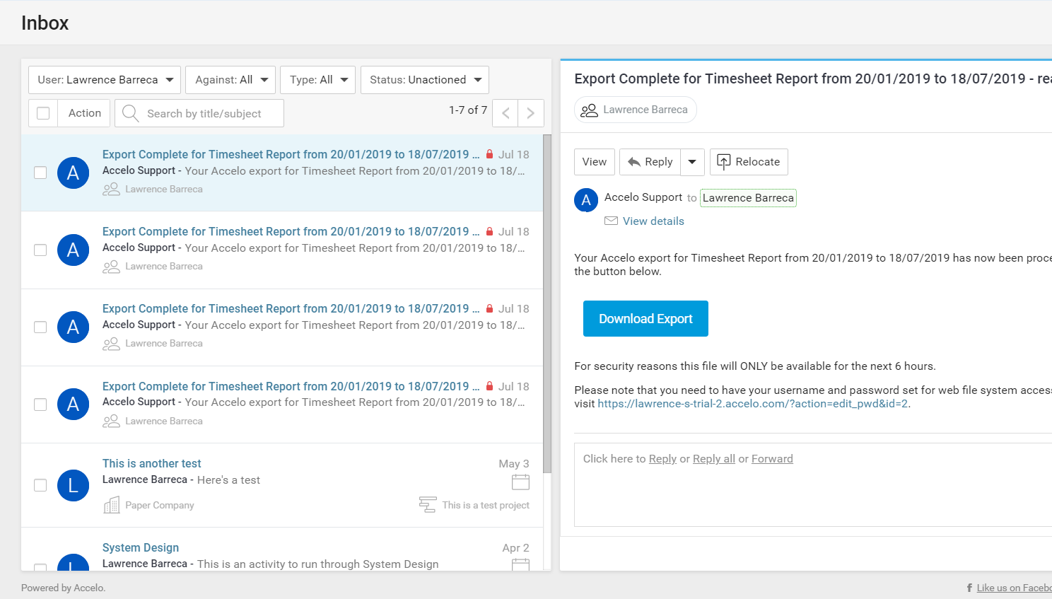 Accelo's project collaboration software for sharing a unified inbox