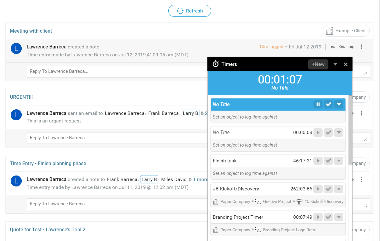 Accelo's project tracking software for automatically tracking via timer or manually entering