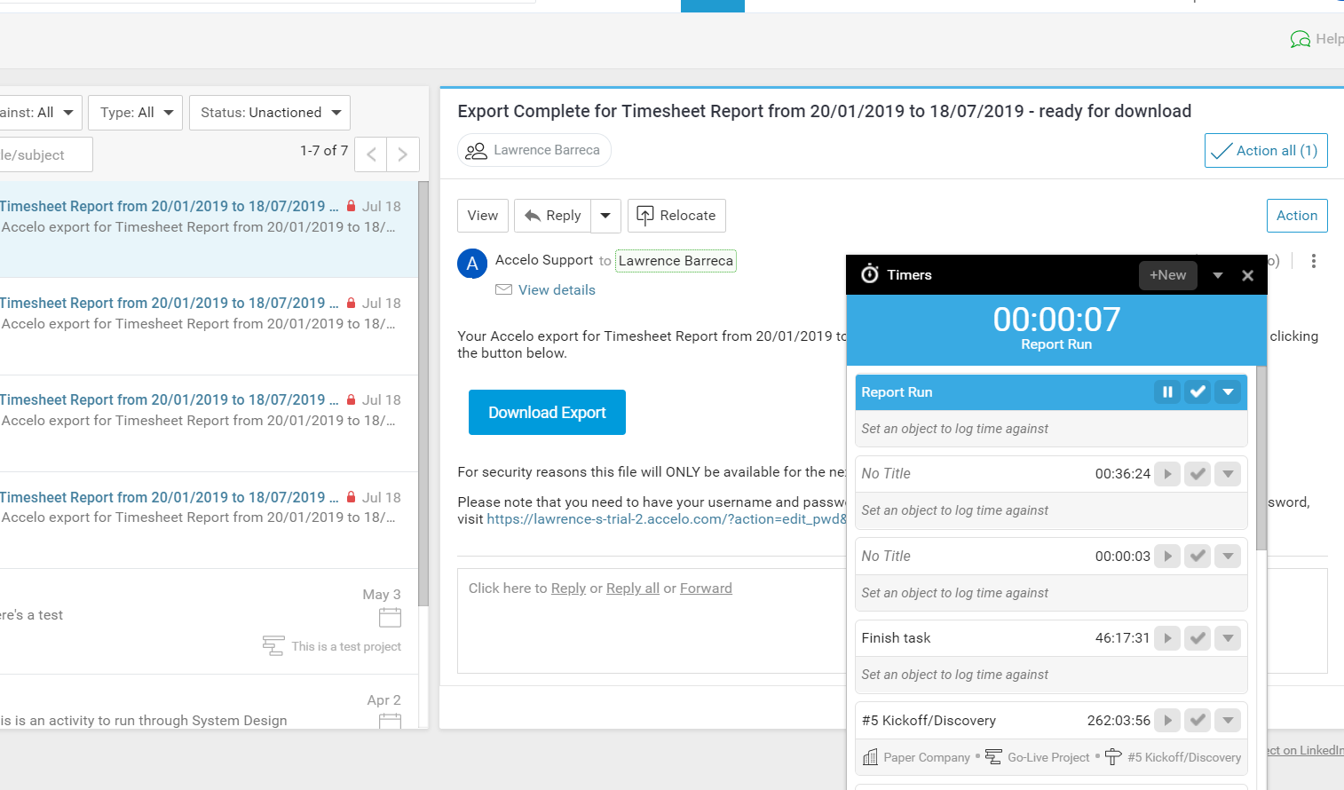 Accelo's team inbox for automatically tracking time spent on tickets