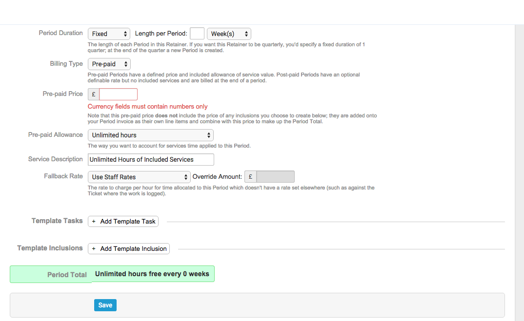 Accelo's project management templates with unlimited inclusions for tracking and invoicing