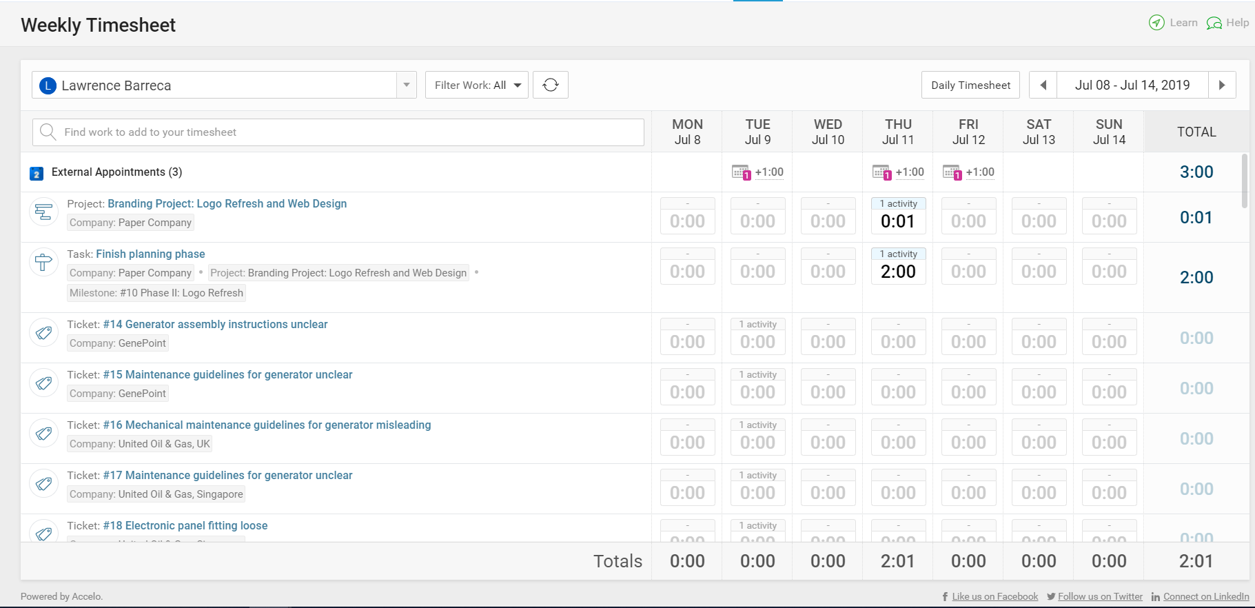 Accelo's automated time tracking for a complete overview in one screen