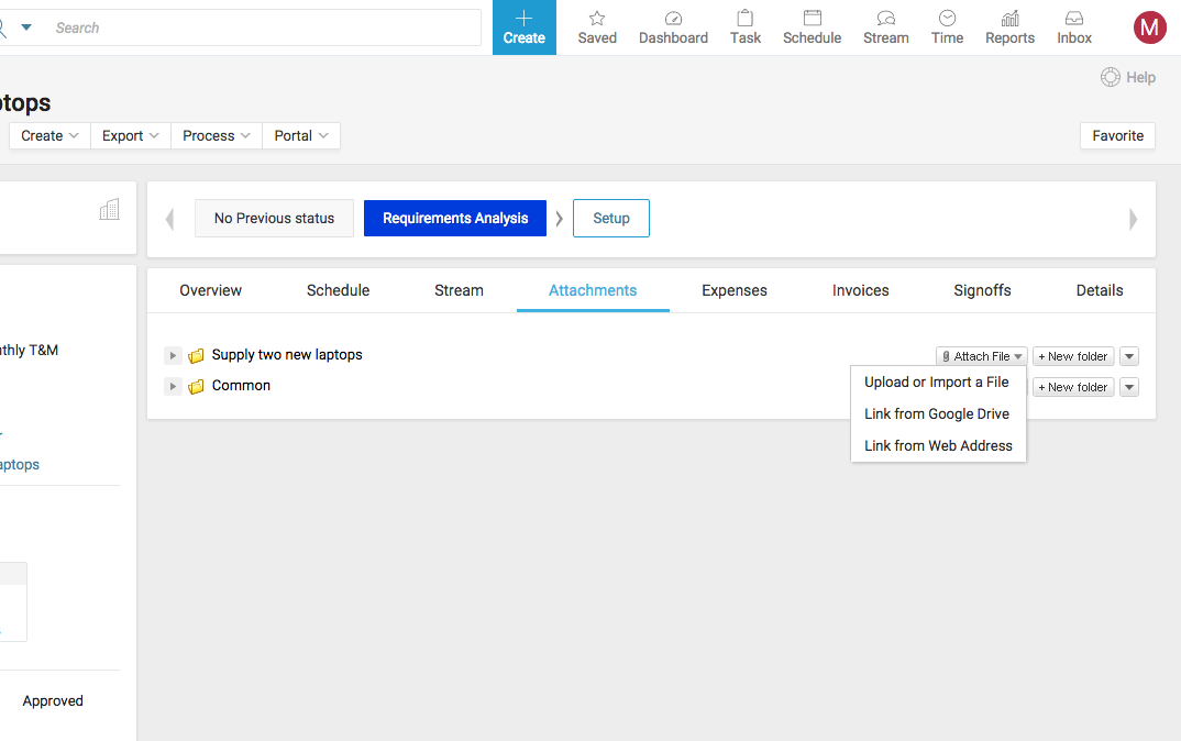 Accelo's project collaboration feature for sharing and attaching documents to projects
