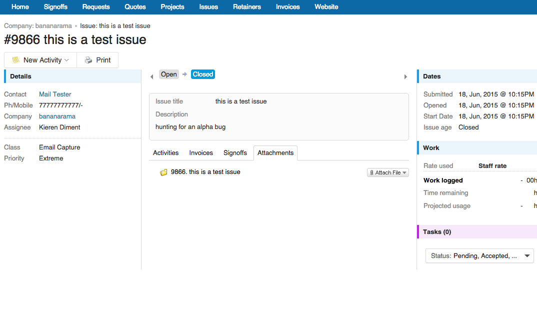 Accelo's client portal feature for securely sharing files and attachments