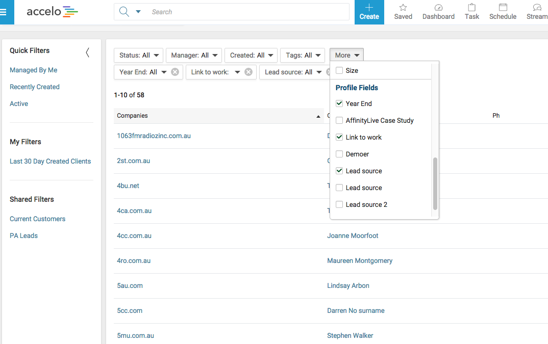 Accelo's custom fields for client database management