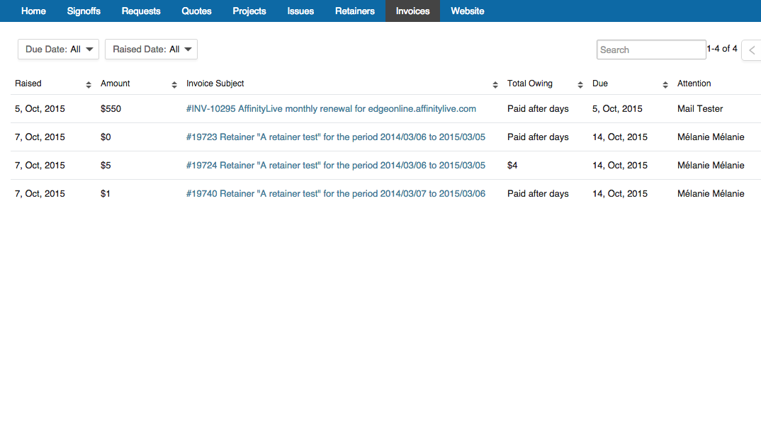 Accelo's client portal for logging billing histories and online payments
