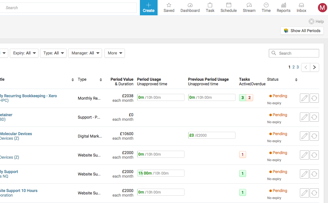Accelo's task management software for setting up recurring tasks