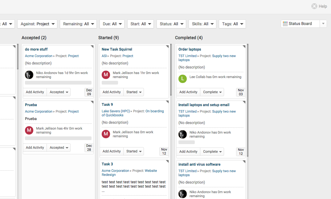 Accelo's task management software for sorting tasks by status